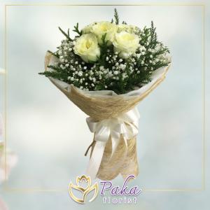 ช่อดอกไม้ พลอยเพชรรัตน์ 8 ช่อดอกไม้มีโทนสีขาวจากดอกกุหลาบ ดอกยิปโซ ช่อดอกไม้สด พวงหรีด พวงมาลา พวงหรีดดอกไม้สด ร้านดอกไม้สด ขายดอกไม้