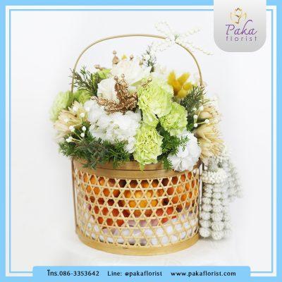 กระเช้าวันแม่ M2 กระเช้าดอกไม้สดพร้อมผลไม้ที่บรรจุอยู่ในปิ่นโตไม้ไผ่สาน กระเช้าดอกไม้สด กระเช้าผลไม้ กระเช้าของขวัญ